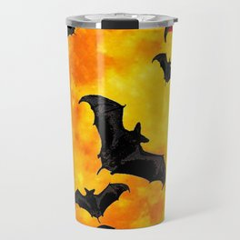 DECORATIVE FULL MOON  FLYING BLACK BATS HALLOWEEN Travel Mug