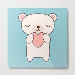 Kawaii Cute White Polar Bear With A Heart Metal Print