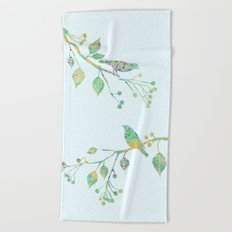 Birds on Branches Love Bird Couple Vintage Floral Pattern Green Yellow Blue Beach Towel