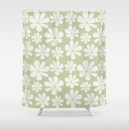 Floral Daisy Pattern - Green Shower Curtain