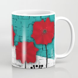 Applique. Poppies on turquoise black white background . Coffee Mug