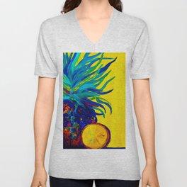 Blue Pineapple Abstract Unisex V-Neck