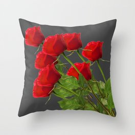 BOUQUET OF  RED LONG STEM ROSES  DESIGN Throw Pillow