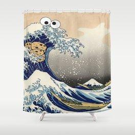 Great Wave off Kanagawa purple T-Shirt Shower Curtain