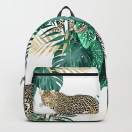 Modern leopard and tropical leaves design Backpack