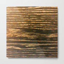 Gold Messy Lines on a Deliciously Bronze Background Metal Print
