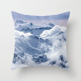 Snowy Mountains and Glaciers Throw Pillow