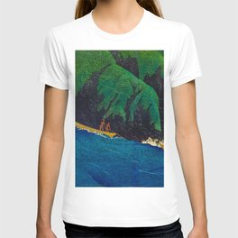 Kawase Hasui Vintage Japanese Woodblock Print Beautiful Green Cliffs Raging Blue Waters With Fisherm T-shirt