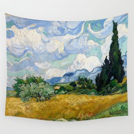 Wheat Field with Cypresses Wall Tapestry