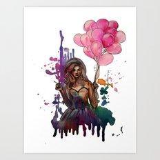 les ballons roses Art Print
