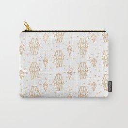 Elegant white gold faux glitter polka dots diamond pattern Carry-All Pouch