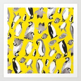 Yellow Penguin Potpourri Art Print