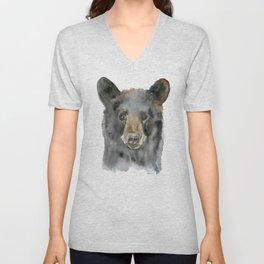 Black Bear Watercolor Unisex V-Neck