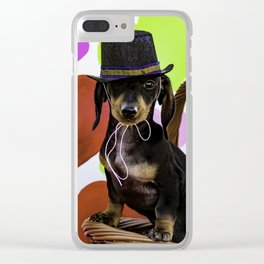 Black and Tan Dachshund Puppy Wearing a Top Hat in front of Valentine's Day Heart Background Clear iPhone Case