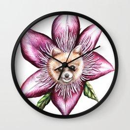 Pomeranian Clematis Wall Clock