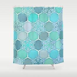 Frozen Mint Honeycomb - Doodle Hexagon Pattern Shower Curtain