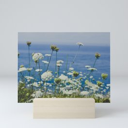 Flowers by the Beautiful Blue Sea Mini Art Print