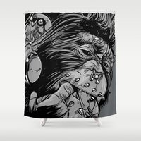 gladiator Shower Curtains featuring PNKMNKY by karakalemustadi