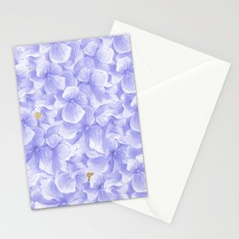 Elegant lavender white faux gold watercolor hydrangea flowers Stationery Cards