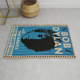 Vintage 1966 Bob Dylan and The Hawks Royal Albert Hall Concert Poster Rug