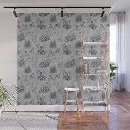 Eurasian Wolf Toile Pattern (Gray) Wall Mural