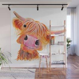 Highland Cow Print, Animal Print ' NESSIE ' by Shirley MacArthur Wall Mural