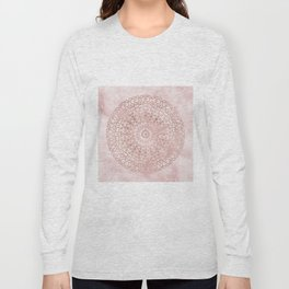 Misty pink marble rose gold mandala Long Sleeve T-shirt