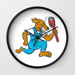 Dog Plumber Running Monkey Wrench Shield Cartoon Wall Clock