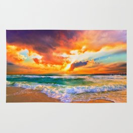 Orange Sunset Landscape Red Purple Green Sea Waves Art Rug
