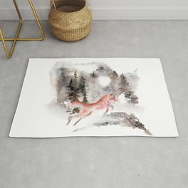 Fox Gamboling In The Mountain Mist Rug
