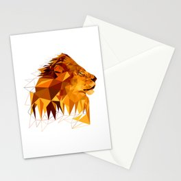 Geometric Lion Wild animals Big cat Low poly art Brown and Yellow Stationery Cards