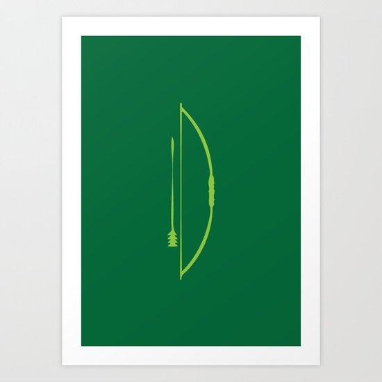 Minimal Superheroes - Green Arrrow Art Print