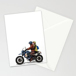 Girl with man on a bike Stationery Cards