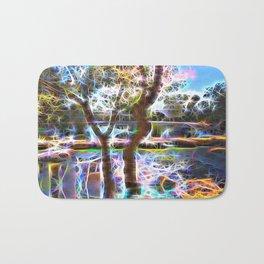 Trees Pond and Light Streams Bath Mat