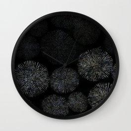 Black Shibori Sea Urchin Burst Pattern Wall Clock