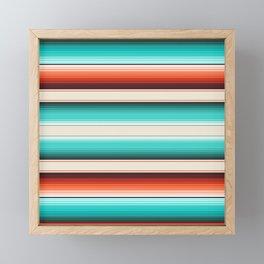Navajo White, Turquoise and Burnt Orange Southwest Serape Blanket Stripes Framed Mini Art Print