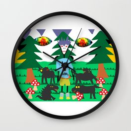 Bad trip in the park with the dogs high laughing at me  Wall Clock