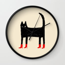 Black Cat in Red Boots Wall Clock