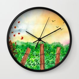Sunset Landscape Watercolor Wall Clock