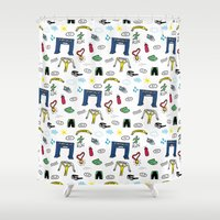 running Shower Curtains featuring Running Doodles by Doucette Designs