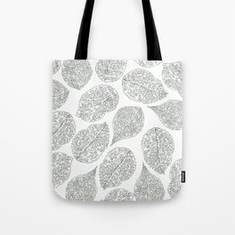 Greenery White Forest Green Foliage Pattern Tote Bag