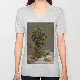 Henri Fantin Latour - Still Life With Vase Of Hawthorn Unisex V-Neck