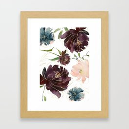 Chic Watercolor Flowers Framed Art Print