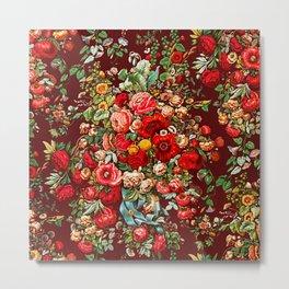 Vintage Boho Flowers Bouquet Metal Print
