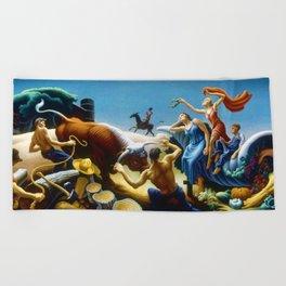Classical Masterpiece 'Achelous and Hercules' by Thomas Hart Benton Beach Towel