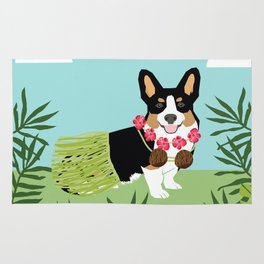 Tri Corgi Hula Dog Summer Tropical Palm Print Palm Tree Dog Rug