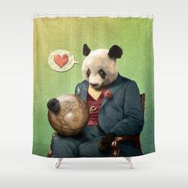 Wise Panda: Love Makes the World Go Around! Shower Curtain