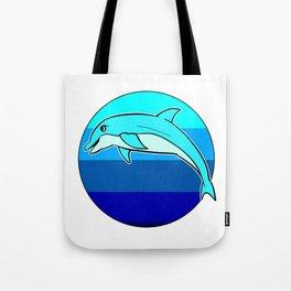 Retro Jumping Dolphin 1980s Beach Design Tote Bag