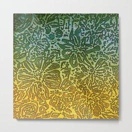 Marigold Lino Cut, Gradient Metal Print