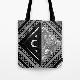 Moon and Lace Collage in Black and White Tote Bag